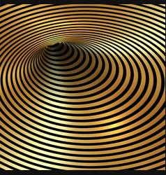 wormhole optical illusion geometric black and gold vector image