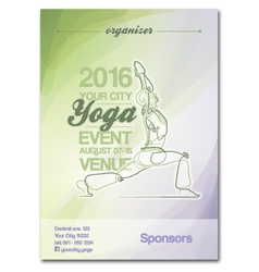 Yoga Event Poster Green Purple vector