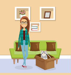 young woman with mascot in the house vector image