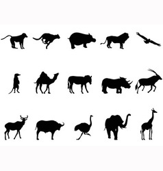 africa animals silhouettes vector image