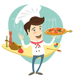 Funny chef serving pizza dish in the kitchen vector image