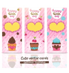 Happy Birthday card set with cupcake vector image
