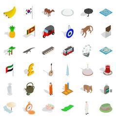 Tourism icons set isometric style vector
