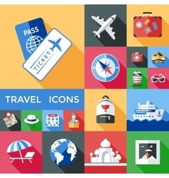 Travel Shadowed Icon Set vector image vector image