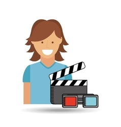 Cheerful girl conecpt cinema clapper and glasses vector