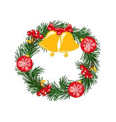 Door christmas decor pine tree wreath with bells vector