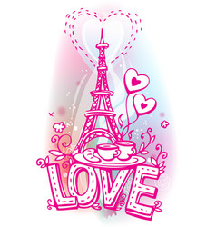 Eiffel tower coffee and croissant vector image