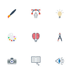 flat icons concept eye science and other vector image vector image
