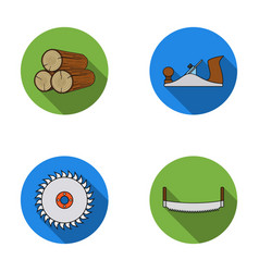 logs in stacks two-handed saws circular saw vector image