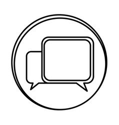 silhouette symbol square chat bubbles icon vector image