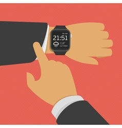 Smart watch on the hand vector image vector image