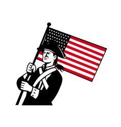 american patriot holding flag retro vector image