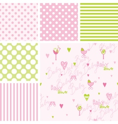 Baby shower Seamless patterns - swatches vector image vector image