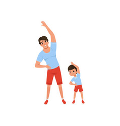 Dad and son doing morning exercises family sport vector