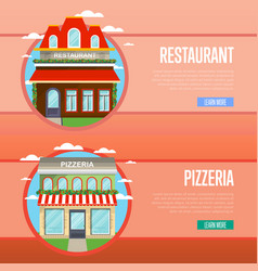 facade of pizzeria and restaurant banner set vector image vector image