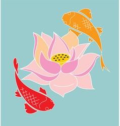 koi and lotus vector image vector image