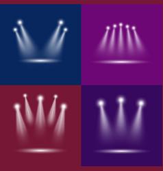 realistic light scenic spotlight card poster set vector image