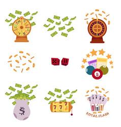 set of flat style bingo and casino icons symbols vector image