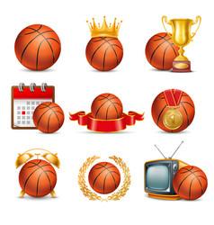 basketball ball icon set vector image vector image