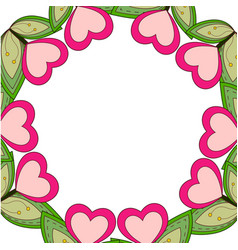 colorful wreath frame poster with heart plants and vector image vector image