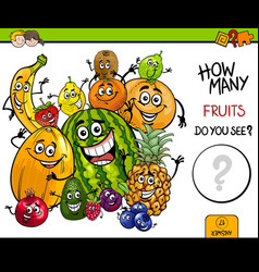 Counting fruits educational game vector