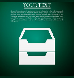 document inbox flat icon on green background vector image vector image