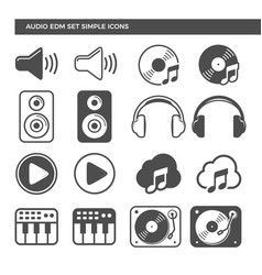electronic dance music audio set icons vector image