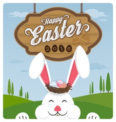 Happy easter and smiling rabbit vector image vector image