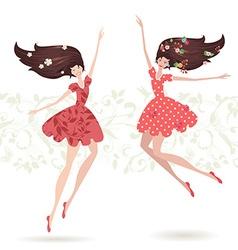 happy teenage girls vector image vector image