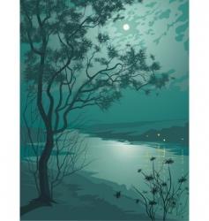 moonlight night vector image vector image
