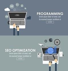 programming and seo optimization vector image vector image