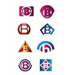 Set of letter B logo Branding Identity Corporate v vector image