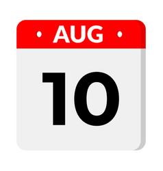 10 august calendar icon vector