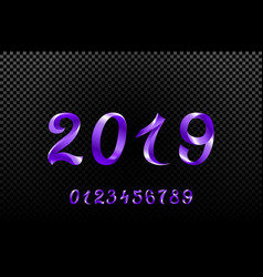 2019 violet new year sign with glitter and vector image