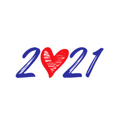2021 brush heart vector image