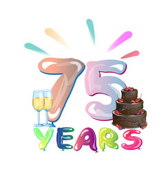 75 th anniversary greeting card with cake vector image