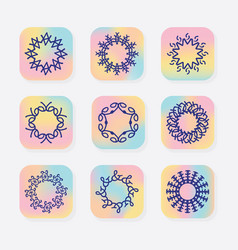 abstract line round symbolic emblems set vector image
