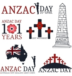 Anzac day greeting set vector
