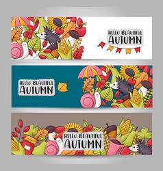 Autumn season theme concept horizontal banner vector