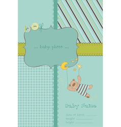 baboy arrival card with photo frame and place f vector image