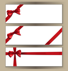 Banner template set with red bow and ribbon vector