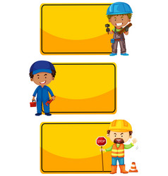 banner template with construction workers vector image