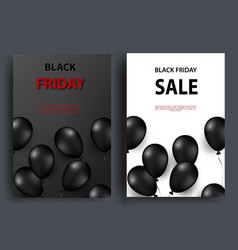 black friday sale vertical banners flying glossy vector image