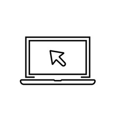 black linear laptop with cursor icon vector image