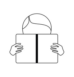 boy reading book icon vector image