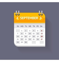Calendar September Flat Design vector image