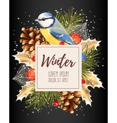 Card with winter cherry vector