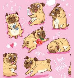 cartoon beige puppies pugs seamless pattern vector image