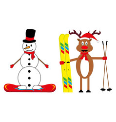 Cartoon deer skier and snowman snowboarder vector
