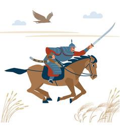 Central asian warrior horseman attack in battle vector